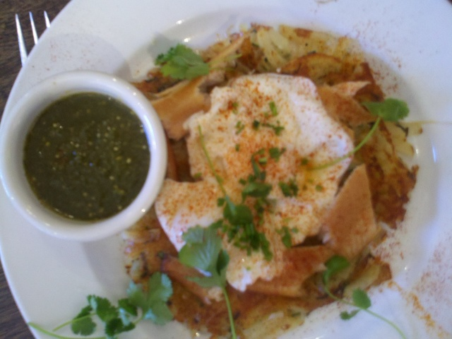 On the advice of my cousin Jon, I went to cafe Pasqualle and had the smoked trout hash.