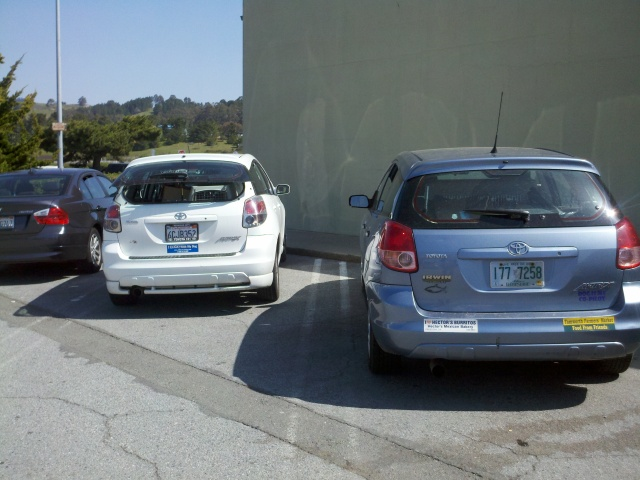 The white car next to mine is the same make and model, it had dogs in crates inside, and a bumper sticker for clicker training dot com.