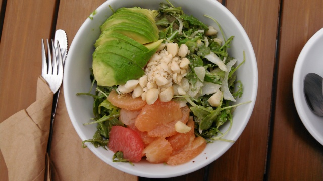 Arugula with fennel, avocado, macadamia nuts, and mixed citrus.
