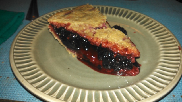 mulberry pie. Oh, be still my beating heart. Jimbo harvests and freezes the mulberries from the tree in his yard.
