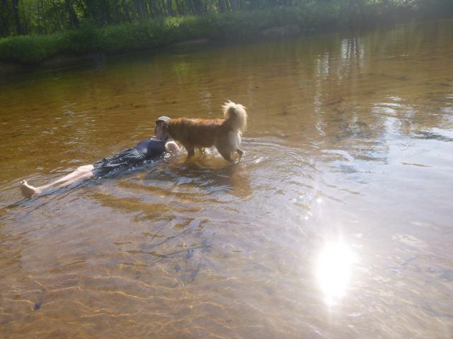 Annie & Chico water
