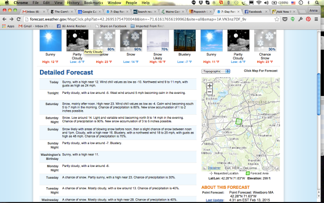 Weather forecast for Westborough, MA, our destination for the weekend.